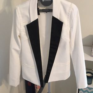 White blazer with black lapels